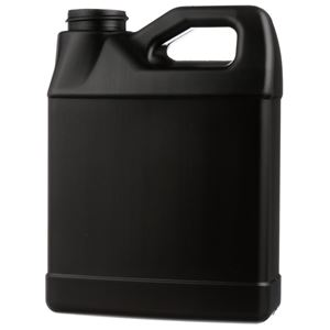 16 oz Black HDPE Plastic Handled Oblong F-Style Jug - 33-400 Neck Finish - Front View