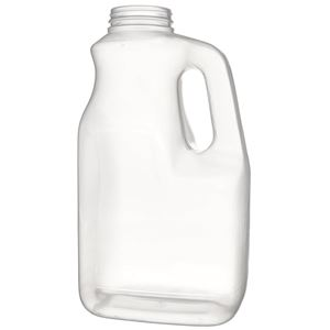 1 Gallon Natural P/P Multilayer Plastic Handled Oblong Jug - 63-400 Neck Finish - Front View