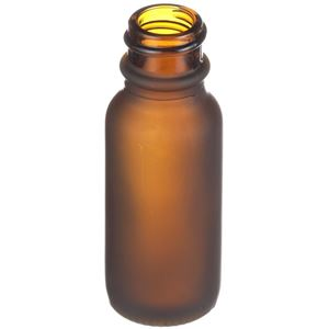 0.5 oz Frosted Amber Glass Boston Round Bottle - 18-400 Neck Finish - Angled View
