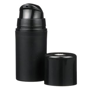 15 ml Matte Black P/P Airless Treatment Pump And Dispenser Set - Black Overcap Included - Front View
