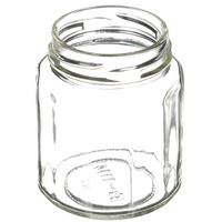 190 ml Clear Glass Round Faceted Jar - 58 mm Lug Neck Finish - Angled View