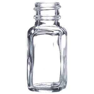 0.5 oz Clear Glass French Square Bottle - 20-400 Neck Finish  - Front View