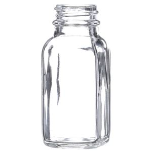 2 oz Clear Glass French Square Bottle - 28-400 Neck Finish - Front View