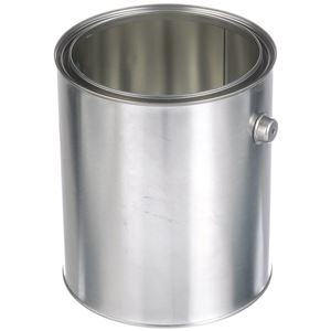 1 Gallon Metal Unlined Round Triple Tight Can - Includes Handle and Lid - Angled View