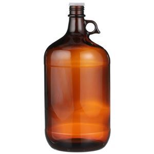 4 Liter Amber Glass Round Handled Jug - 38-439 Neck Finish - Front View