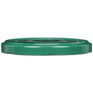 82-2040 Lug Neck Finish Green Metal Lined Closure with Vacuum Button - Plastisol Liner - Front View