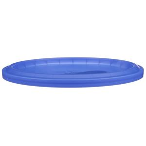 Blue HDPE Plastic Round Pail Lid - For 6 to 12 Quart Dairy and Ice Cream Pails - Front View