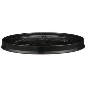Black HDPE Plastic Round Pail Lid  with Gasket - For 1 Gallon Pail - Front View