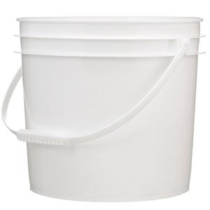 3.5 Gallon White HDPE Plastic Round Pail with Plastic Handle - Front View