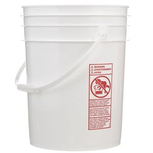 20 Liter White HDPE Plastic Round Pail with Plastic Handle - Front View