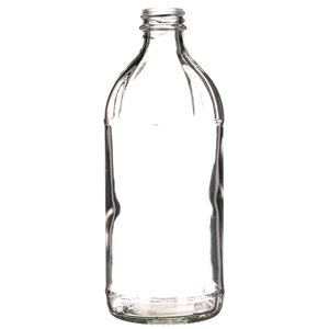 16 oz Clear Glass Round Fluted Utility Vinegar Bottle - 28-405 Neck Finish - Front View