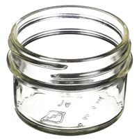 4 oz Clear Glass Round Low Profile Jar - 70-450 Neck Finish - Angled View