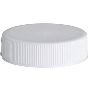 38-400 White P/P Plastic Continuous Thread Lined Closure - FS3-25 Plain Liner - Front View