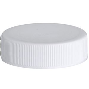 38-400 White P/P Plastic Continuous Thread Lined Closure - F217 & LP-E Liners - Front View