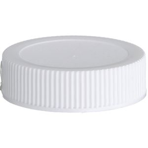 38-400 White P/P Plastic Continuous Thread Lined Closure - Foam Liner - Front View