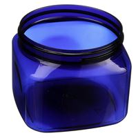 16 oz Cobalt Blue PET Plastic Square Jar - 89-400 Neck Finish - Angled View