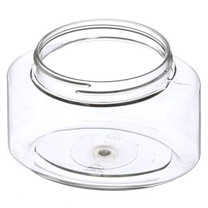 250 cc Clear PET Plastic Oval Jar - 70-400 Neck Finish - Angled View