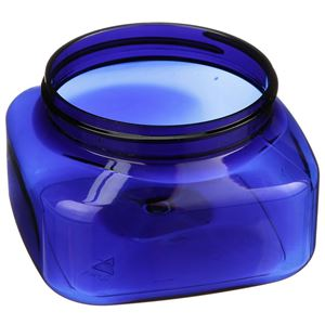 8 oz Cobalt Blue PET Plastic Round Jar - 70-400 Neck Finish - Angled View