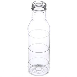 12 oz Clear PET Plastic Round Long Neck Bottle - 38-400 Neck Finish - Angled View