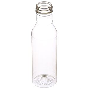 12 oz Clear PET Plastic Round Long Neck Bottle - 38-400 Special Neck Finish - Angled View