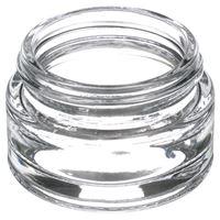 15 ml Clear Glass Round Low Profile Jar - 43-400 Neck Finish - Angled View