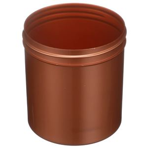 16 oz Pearl Copper PET Plastic Straight Sided Round Jar - 89-400 Neck Finish - Angled View