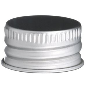 24-410 Silver Aluminum Continuous Thread Lined Closure - PE Foam Liner - Front View