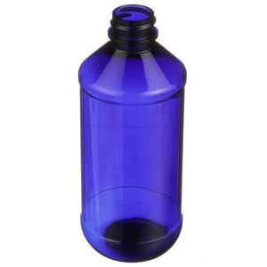 8 oz Cobalt Blue PET Plastic Modern Round Bottle - 24-400 Neck Finish - Angled View