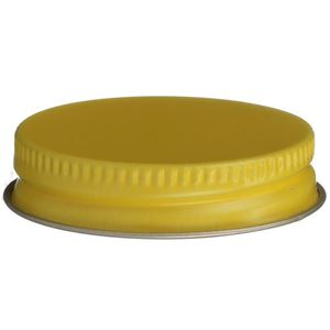 43-400 Yellow Continuous Thread Lined Closure - Pulp/Vinyl Liner - Front View