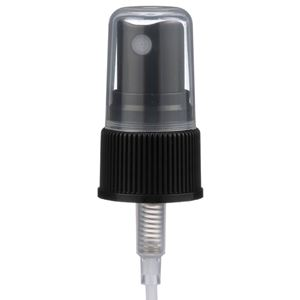 "20-410 Black P/P Plastic Ribbed Skirt Fine Mist Sprayer with 5.25"" Dip Tube - Front View"