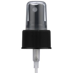 """24-410 Black P/P Plastic Ribbed Skirt Fine Mist Sprayer with 7.68"""" Dip Tube - Front View"""