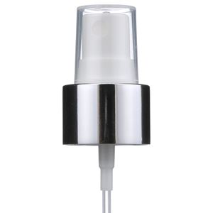 "24-410 Silver/White P/P Plastic Smooth Skirt Fine Mist Sprayer with 6.8125"" Dip Tube - Angled View"