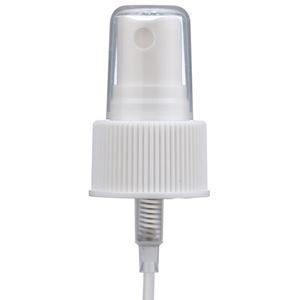 "24-410 White P/P Plastic Ribbed Skirt Fine Mist Sprayer with 6.75"" Dip Tube - Angled View"
