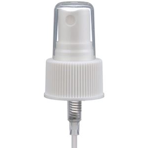 "24-410 White P/P Plastic Ribbed Skirt Fine Mist Sprayer with 6.25"" Dip Tube - Angled View"