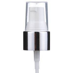 """20-410 White/Silver Chrome P/P Plastic Smooth Skirt Treatment Pump with 5.5"""" Dip Tube - Angled View"""
