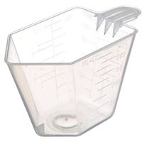 8 oz Natural P/P Plastic Short Handled Measuring Cup with Graduation Marks - Angled View