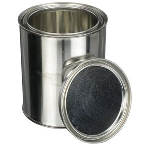 1 Quart Metal Unlined Paint Can with Metal Lid - Angled View