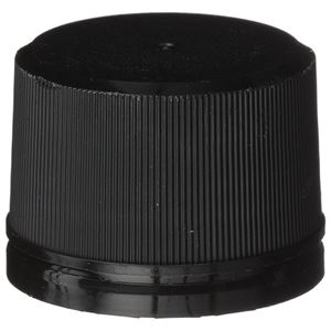 33 mm Black P/P Plastic Round Tamper Evident Closure with Breakaway Band - Front View
