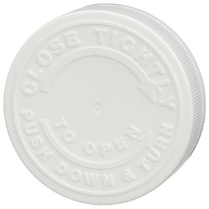 63 mm White P/P Plastic Push and Turn Child Resistant Closure - F217 Liner - Top View