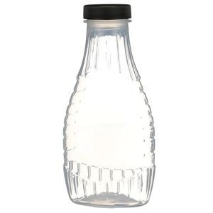 12 oz P/P Plastic Heat Resistant Tapered Oval Bottle with Black F217 Lined Closure - Front View