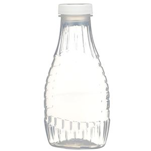 12 oz P/P Plastic Heat Resistant Tapered Oval Bottle with White F217 Lined Closure - Front View