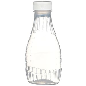 "12 oz P/P Plastic Heat Resistant Tapered Oval Bottle with White Flip Top .375"" Orifice BA003 Lined Closure - Front View"