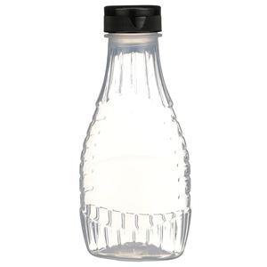 """12 oz P/P Plastic Heat Resistant Tapered Oval Bottle with Black Flip Top .50"""" Orifice BA003 Lined Closure - Front View"""