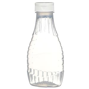 "12 oz P/P Plastic Heat Resistant Tapered Oval Bottle with White Flip Top .50"" Orifice BA003 Lined Closure - Front View"