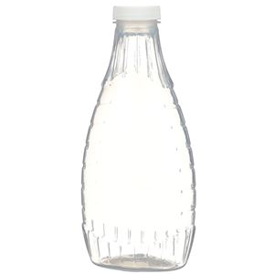 24 oz P/P Plastic Heat Resistant Tapered Oval Bottle with White F217 Lined Closure - Front View