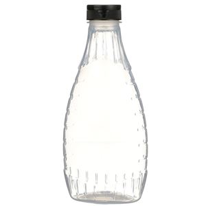 """24 oz P/P Plastic Heat Resistant Tapered Oval Bottle with Black Flip Top .375"""" Orifice BA003 Lined Closure - Front View"""