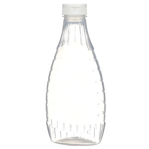 "24 oz P/P Plastic Heat Resistant Tapered Oval Bottle with White Flip Top .375"" Orifice BA003 Lined Closure - Front View"