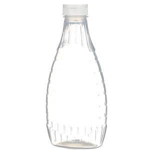 "24 oz P/P Plastic Heat Resistant Tapered Oval Bottle with White Flip Top .50"" Orifice BA003 Lined Closure - Front View"