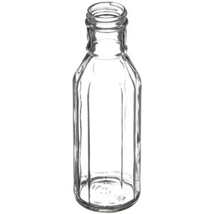 12 oz Clear Glass Round Long Neck Faceted Bottle -38-400 Neck Finish - Angled View