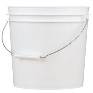 2 Gallon White HDPE Plastic Pail with Metal Swing Handle - Front View